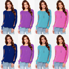 Fashion Elegant Women Chiffon Tops Hollow Long Sleeve Shirt Casual Loose Blouses