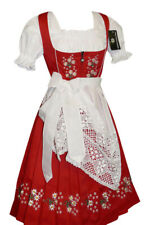 3-Piece LONG RED DIRNDL Trachten German Wear Bavarian Oktoberfest Party Dress