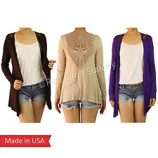 Women Cute Crochet Detail Casual Color Comfy Rayon Cardigan Jersey Outerwear USA