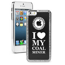 For iPhone 4s 5 5s 5c 6 6 Plus Rhinestone Bling Case Cover I Love My Coal Miner