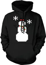 8-bit Snowman Winter Christmas Seasons Greetings Pixelated Hoodie Pullover