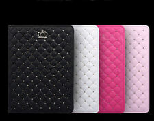 Crown Grid Soft Leather Smart Case Cover for Apple iPad 2 3 4 Air Mini Air2 HFX