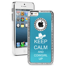 For iPhone 4s 5 5s 5c 6 6 Plus Rhinestone Bling Case Cover Keep Calm Cowgirl Up