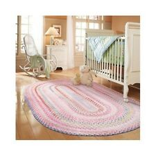 Braided Cotton Blend Woven Area Rug Nursery Room Baby Crib Clean Multi Colors