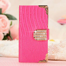 For Samsung Galaxy S3 S4 S5 Bling Diamond Flip Wallet Card PU Leather Case Cover