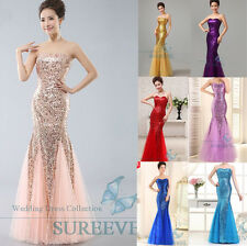 Sequins Long Formal Prom Evening Dress Cocktail Party Ball Gown Bridesmaid Dress