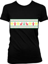 Ugly Christmas Sweater Party Joke Funny Festive Seasonal Humor Juniors T-shirt