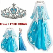 Frozen Elsa Anna Costume Disney Princess Girl Kid's Fancy Outfit Long Dress