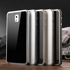 Tempered Gorilla Glass+Metal Bumper Cover Case For Samsung Galaxy Note 3 N9000