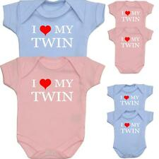 BabyPrem Baby Clothes LOVE MY TWIN Bodysuits One-Pieces Twins Sets Preemie - 6m
