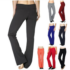 Yoga Athletic Foldover Waist Band Fitness Gym Flared Leg Pants Stretch Comfy