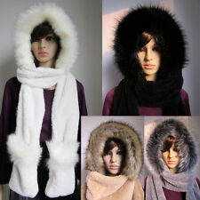FAUX FOX FUR Winter Warm Ski HAT HOOD hats with scarf and mittens attached Glove