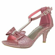 Girl's T-Strap Rhinestone Glitter High Heel Dress Sandals w/ Bow Accent Pink