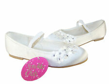 Ivory satin girls special occasion ballerinas by The Sparkle Club, party shoes