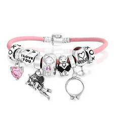 Bling Jewelry 925 Silver Wedding Wine Pink Heart Charm Bracelet
