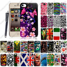 For Various Mobile Phones New Printed Hard Shell Back Skin Case Cover + Stylus