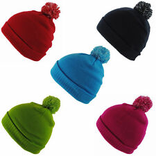 BNWT Junior Kids Knitted Green Navy Red Winter Wooly Roll-Up Beanie Bobble Hat
