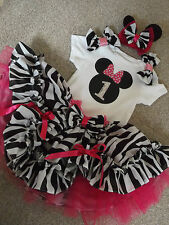 1st First Birthday Party Outfit Hot Pink Zebra Minnie Mouse Cake Smash Romany