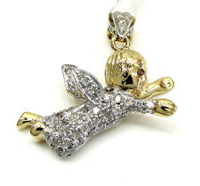 0.54ct Mens Ladies 14k Yellow White Real Solid Gold Flying Angel Diamond Pendant
