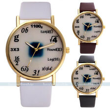 Fashion Unisex Women Math Leather Stainless Steel Sport Quartz Wrist Watch Gift