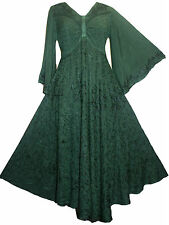 206 DR Medieval Peasant Butterfly Embroidered Bell Sleeve Flair Dress ~ India