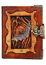 Bat Pendant Brown Leather Journal / Diary / Lock / Notebook / Notepad