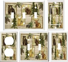 DEER ELK BEAR MOOSE & PINE CONES RUSTIC DECOR LIGHT SWITCH COVER OR OUTLET V761