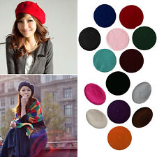 Womens Sweet Solid Warm Wool Winter Beret French Artist Beanie Hat Ski Cap Hat