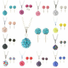Shamballa Crystal Bead Disco ball Silver Necklace & Stud earring Set Fashion