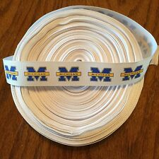 """7/8"""" University of Michigan Wolverines Grosgrain Ribbon by the Yard (USA SELLER)"""