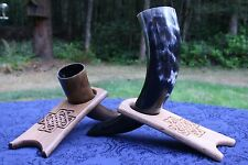 Wood Drinking Horn Stands - SCA, Wicca, Norse, Celtic, Pagan - 8 Unique Designs!