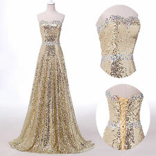 Vintage Sparkling Sequins Prom Party Bridesmaids Gowns Formal Evening Dress Long