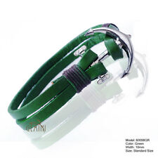 MENS Green REAL LEATHER & STAINLESS STEEL BRACELET WRISTBAND GM098US