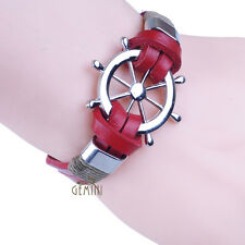 Anchor Sailor Red Leather Bracelets Cuff Buckle Men Women Wristband CAGM077RD