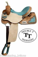"14"" 15"" 16"" DOUBLE T BARREL STYLE SADDLE WITH TEAL FILIGREE PRINT SEAT NEW"