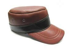 Men's Genuine Brown cowhide Leather Military Castro Cap /Army Cadet Officer Hat