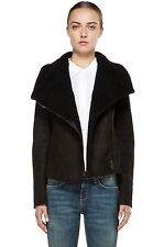 NWT VINCE Black Leather Suede & Shealring Scuba Jacket Size L  $1850