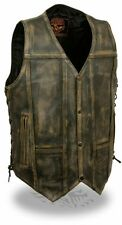 MEN'S 10 POCKET DISTRESSED BROWN LEATHER VEST LACE SIDES MOTORCYCLE RIDERS