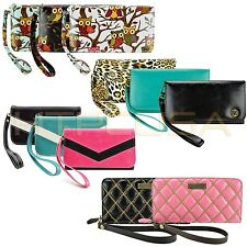 caseen Cute Smartphone Luxury Card Wallet Wrist Strap Purse Bag Case Cover