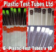 Plastic Test tubes with tops, 150x16mm Ø, 20ml volume, Listing is for 10 tubes