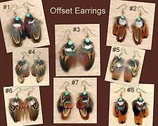 CUSTOM Real Feather Earrings w/Turquoise - Offset Design ~ Handmade in USA!