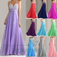 Stock Long Chiffon Evening Dresses Cocktail Prom Gown Bridesmaid Dress Size 6-14