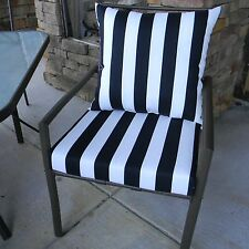 """6 Sets - 22""""x22"""" Cushion & Pillow Set for Patio Dining Chair, Solids / Stripes"""