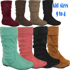 GIRL NEW Slouch Mid Calf Boot Faux Suede Sizes 9-4 Toddler to Youth FREE SHIP!!