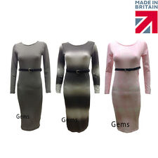 Womens Ladies Stretchy Jersey Belted Long Sleeve Midi Maxi Bodycon Dress UK 8-14
