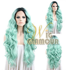 """Long Curly 18""""-28"""" Black Roots with Light Blue Lace Front Synthetic Wig Heat OK"""