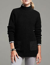 NWT Banana Republic $89.5 Wool Faux-Suede Patch Waffle Pullover Size XS,S,M,L,XL