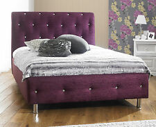 Chenille Fabric Bed Frame All Sizes + 8 Different Colors! Free Next Day Delivery