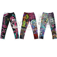 Girls Monster High Skull Pants Kids Teens Tight Leggings Trousers 6-16Y Clothes