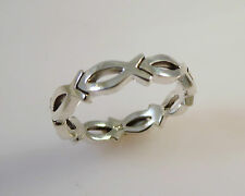.925 Sterling Silver ETERNITY JESUS FISH Ring NEW Size 5.5-10 Faith 925 03042